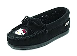 Minnetonka Girls Hello Kitty Kilty Moc Black Size 7 M US Toddler