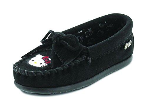 Minnetonka Girls' Hello Kitty Moccasins Black 13 M US