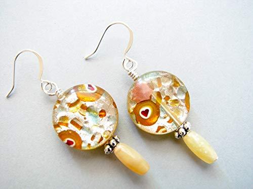 Yellow Opal Beaded Drop Glass Dangle Earrings Handmade Gemstone Jewelry for Women - Yellow Handcrafted Lamp