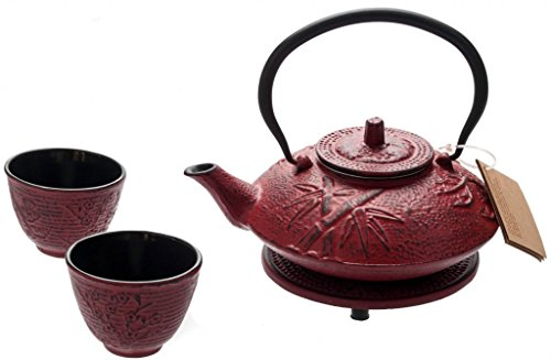 Red Tetsubin Tea Set Teapot (M.V. Trading New Star International T8080 Cast Iron Bamboo Tea Set with Trivet, 27 oz, Red)