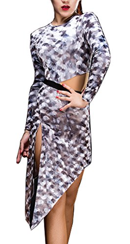 Split Cha skirt skirt skirt dress Cha ends Ballroom Gray Waltz Latin skirts Velvet U16wxqB
