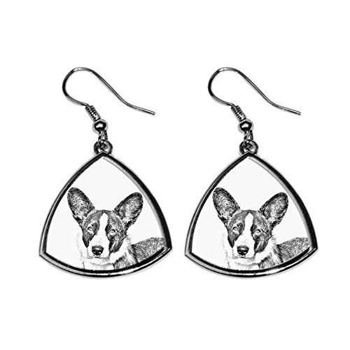 (Cardigan Welsh Corgi, collection of earrings with images of purebred dogs, unique)