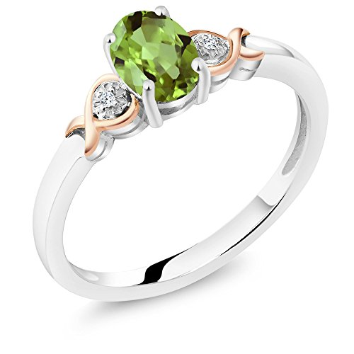 Gem Stone King 925 Sterling Silver and 10K Rose Gold Ring Green Peridot with Diamond Accent 0.80 cttw (Size 7) ()
