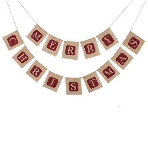 Bogeer Large Merry Christmas Jute Burlap Banners Christmas Decorations Christmas Decor,5.6×6.3×1in,Wine red
