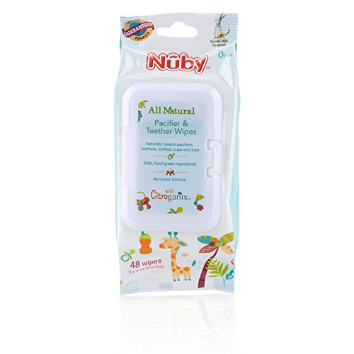 Nuby All Natural Pacifier and Teether Wipes, Vanilla Milk, 48 Count