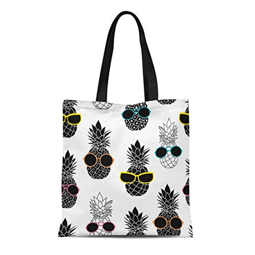 (Semtomn Cotton Canvas Tote Bag Pineapples Wearing Colorful Sunglasses Summer Vacation Tropical Great Reusable Shoulder Grocery Shopping Bags Handbag Printed)
