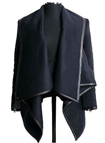 Lana Irregolare Donna Ragazza Manica Chic Cardigan Asimmetrico Autunno Lunga Poncho Primaverile Con Vintage Cerniera Fashion Cappotto Blu Casuali Giacche vqdgwdO