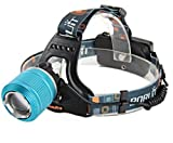 ZTHY RJ-2800 2000LM CREE XML T6 LED Adjustable Zoom Camping Cycling Headlamp Headlight+2*18650battery +USB Cable+Charger (Blue)