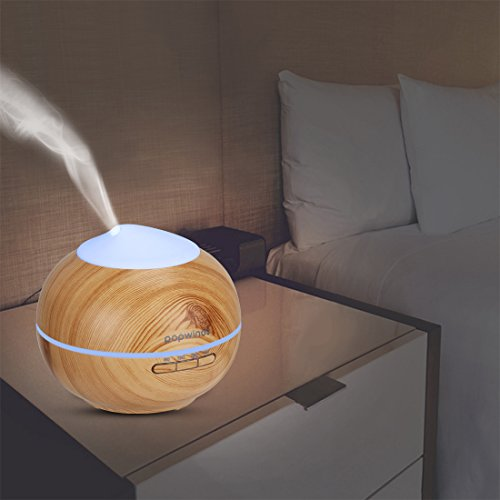 popwinds Aroma Diffuser, Essential Oil Diffuser Ultrasonic Aroma Humidifier Cool Mist Air Purifier with 7 Colors Light, Auto Shut-Off and Adjustable Mist Levels for Bedroom, Office or Spa-Dark Wood by popwinds (Image #8)