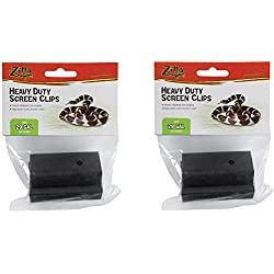 (2 Pack) Zilla Reptile Terrarium Covers Heavy Duty Screen Clips, Small 5-29 Gallons - 2 Clips Each
