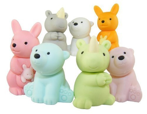 7-piece Iwako wild animal erasers - kangaroo, rhino and polar bear (Color Varies) by Iwako