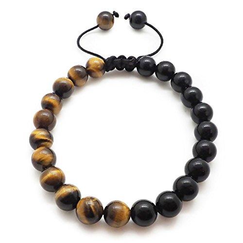 Chakra Bracelet KRMA Organic Cotton Jewelry Bag | Black Agate & Tiger Eye | Japanese String | Energy Stone Prosperity Bracelet by KRMA Prosperity Jewelry