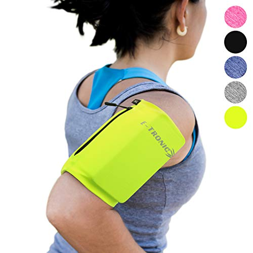 Phone Armband Sleeve: Running & Jogging High Visibility Cellphone Holder in Fluorescent Yellow to be Seen at Night. Reflective Gear & Safety Accessories for Women & Men & Kids. Fits ALL Phones (LARGE)