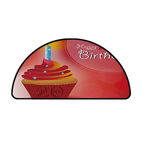 """20th Birthday Decorations Comfortable Semicircle Mat,Sweet 20 Birthday Party Cupcake with Beams Backdrop for Living Room,17.7"""" H x 35.4"""" L"""