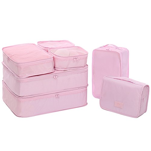 - Travel Packing Cubes 7 Set, JJ POWER Luggage Organizers with toiletry kit shoe bag (Light pink)
