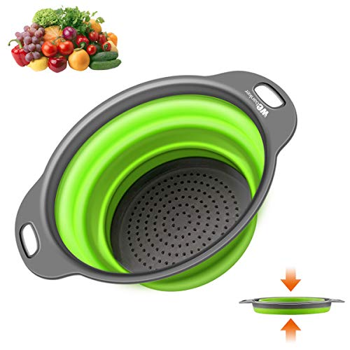 Kitchen Collapsible Colander,Webanker Food-Grade Silicone Strainer Space Saver Folding Strainer Colander,9.5 inches 3 Quart and Sizes 8 inches 2 Quart(Large)