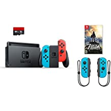 Nintendo Swtich 4 items Bundle:Nintendo Switch 32GB Console Red and Blue,64GB Micro SD Memory Card and an Extra Pair of Nintendo Joy-Con (L/R) Wireless Controllers Neon Blue,The Legend of Zelda