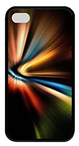 Abstract Color Warp TPU Black Case for iphone 4S/4