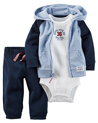 Carter's Baby Boys 3-Piece Short-Sleeve Safari Bodysuit, Super Cute Division, 3 Months