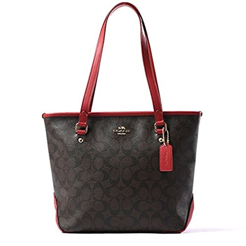 Coach Signature Zip Top Tote (Brown/True Red) by Coach