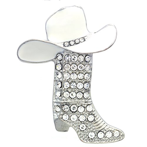 11265653e8b Soulbreezecollection Lucky Charm Texas Western Cowboy Cowgirl Boots Brooch  Hat Pin Charm Enamel Jewelry (White)
