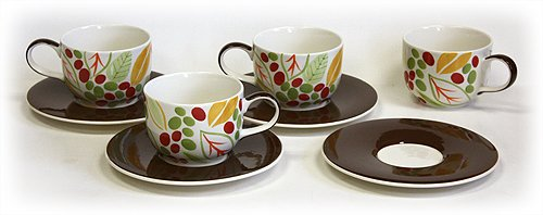 - 8 Piece 14 Oz. Kona Berries Latte Cups & Saucers Set by Hues & Brews