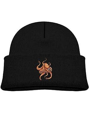 Kids Knitted Beanies Hat Octopus Art Winter Hat Knitted Skull Cap for Boys Girls Pink
