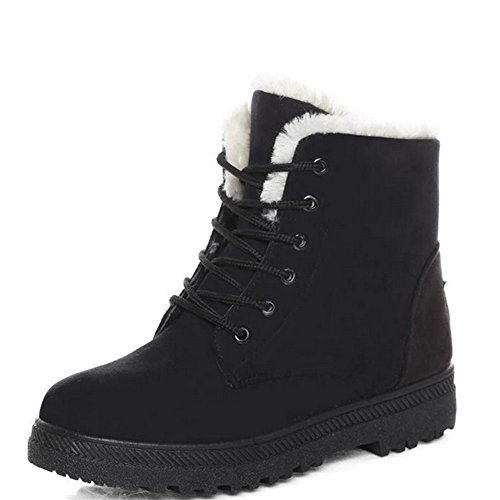 Women's Fashion Waterproof Suede Flat Platform Sneaker Shoes Plus Velvet Winter Women's Lace Up Cotton Snow Boots (8 US 39EU, Black)