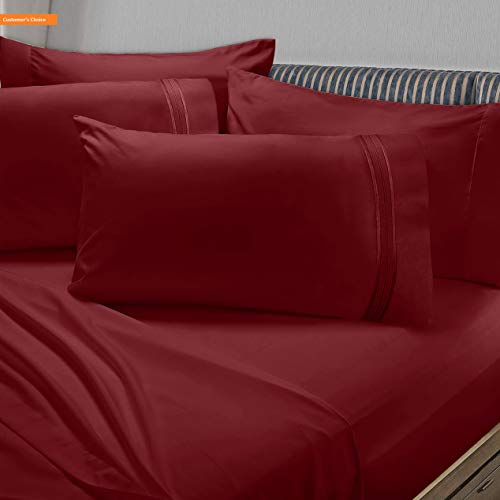 Mikash New Soft Premier 1800 Collection 6pc Bed Sheet Set with Extra Pillowcases - King, Burgundy Red | Style 84601276
