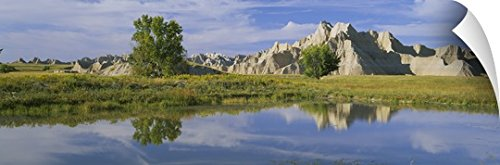 Canvas On Demand Wall Peel Wall Art Print entitled Reflection of mountains in water, Palmer Creek Unit, Badlands National Park, South Dakota 48