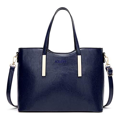 Oil Wax Pu Shoulder Bag Women Fashion Handbag Casual Messenger Top-Handle Crossbody Bags Elegant Tote,Blue