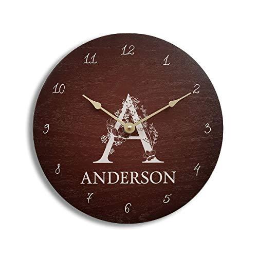 - Personalized brown wall clock. Monogram wall clock. Wood wall clock. Anniversary clock. Family name clock.