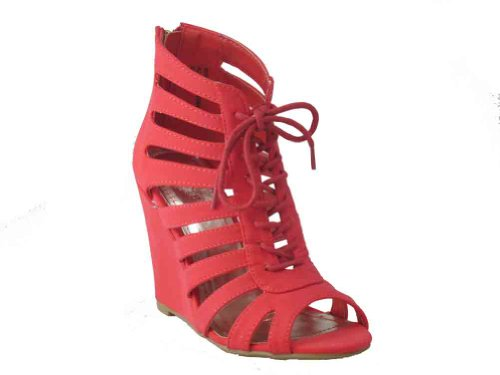 Royce 03 Womens Caged Lace Up Open Teen Sleehak Sandaal Cayenne