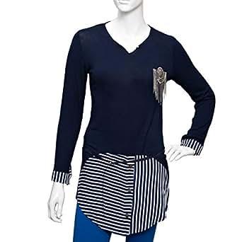 Damacseno Multi Color Cotton V Neck Blouse For Women