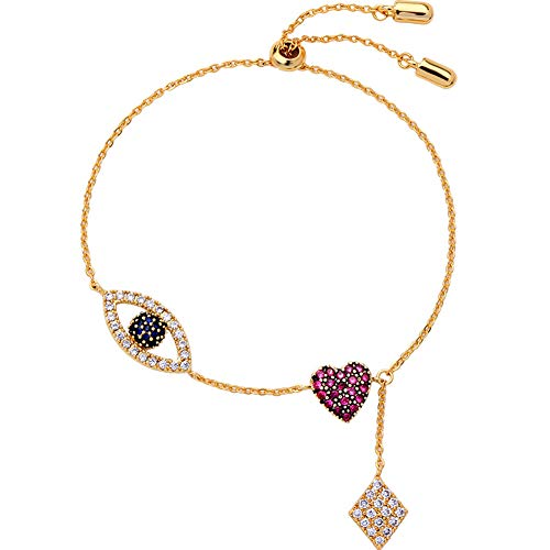 Z&HA Sweet Lady Heart Bangle with Cubic Zirconia Slider Tennis Gold Plated Eye Charm Bracelet Adjustable Links for Women- Gift for Lover Friends ()