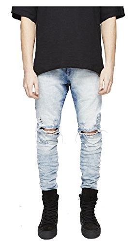 LONGBIDA Mens Ripped Slim Fit Skinny Destroyed Distressed Tapered Leg Jeans