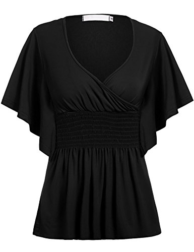 Plaid Smocked Top Dress (Zeagoo Women Slimming V-neck Short Batwing Sleeve Smocked Empire Waist Tunic Top Black XXXXXL)