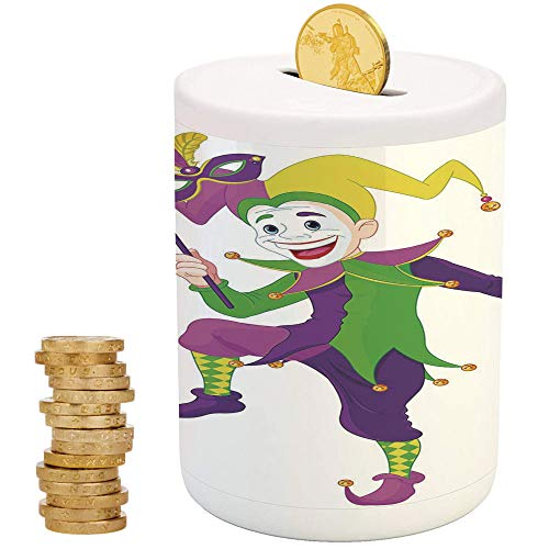 Mardi Gras,Ceramic Girl Bank,Printed Ceramic Coin Bank Money Box for Cash Saving,Cartoon Style Jester in Iconic Costume with Mask Happy Dancing Party -
