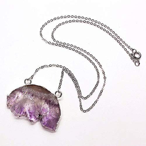 - SLOGB Necklace Silver Plated 1 Pcs Irregular Shape Natural Amethysts Stone Pendant Necklace Double Bunkle Chain Jewelry,Purple