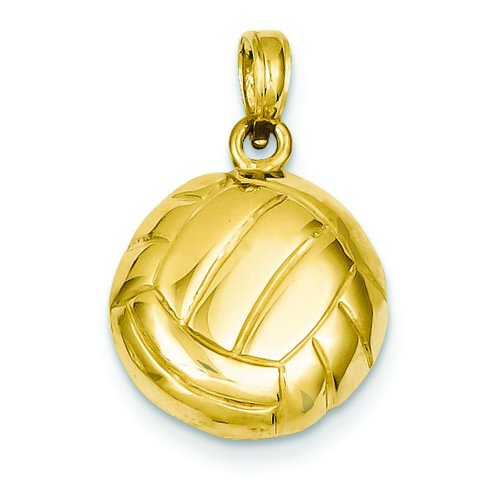 14K Yellow Gold Volleyball Charm Sports Pendant Jewelry 14k Yellow Gold Volleyball Charm