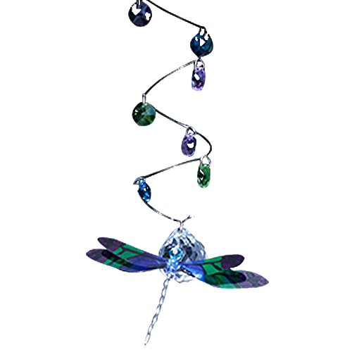 Dragonfly Glass Figurine Spiral Mobile - Blue & Purple - with 4 -
