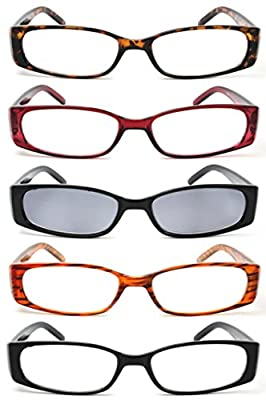 5-Pack Spring Hinge Reading Glasses Men and Women Includes Sun Readers