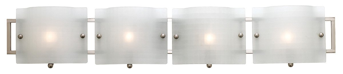 Access Lighting 53314-BS CKF Nara 4-Light ADA Wall Vanity Fixture, Brushed Steel Finish with Checkered Frosted Glass Shades
