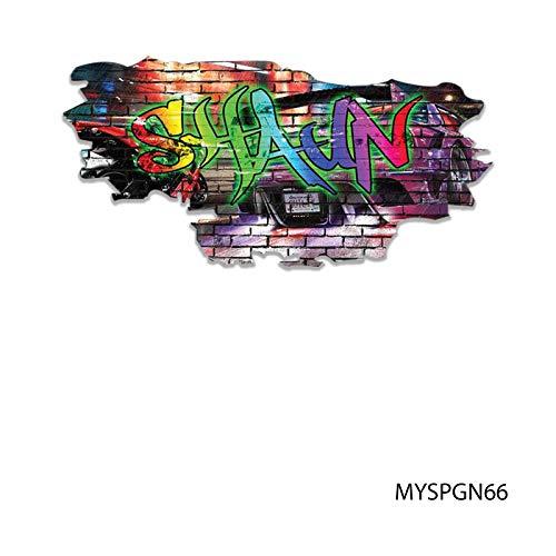 MySticky Vinyl Graffiti Wall Decal + Custom Text | 3D Sticker | Peel & Stick | DIY Friendly | Easy Application | Art & Decor - NO Border (3 Sizes = S/M/L) [for Bedroom, Living-Room, Kids or Any Room]