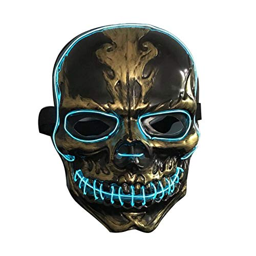 US-Pop Trading Mask Halloween LED Cosplay Horror Mask Ghost LED Glowing Mask Bar Nightclub Atmosphere Cold Light Mask Scary Mask for Halloween Rave Costume Party Music Festival -