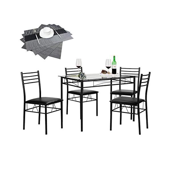 VECELO Glass Dining Table Set for 4 41F4eR1 j0L