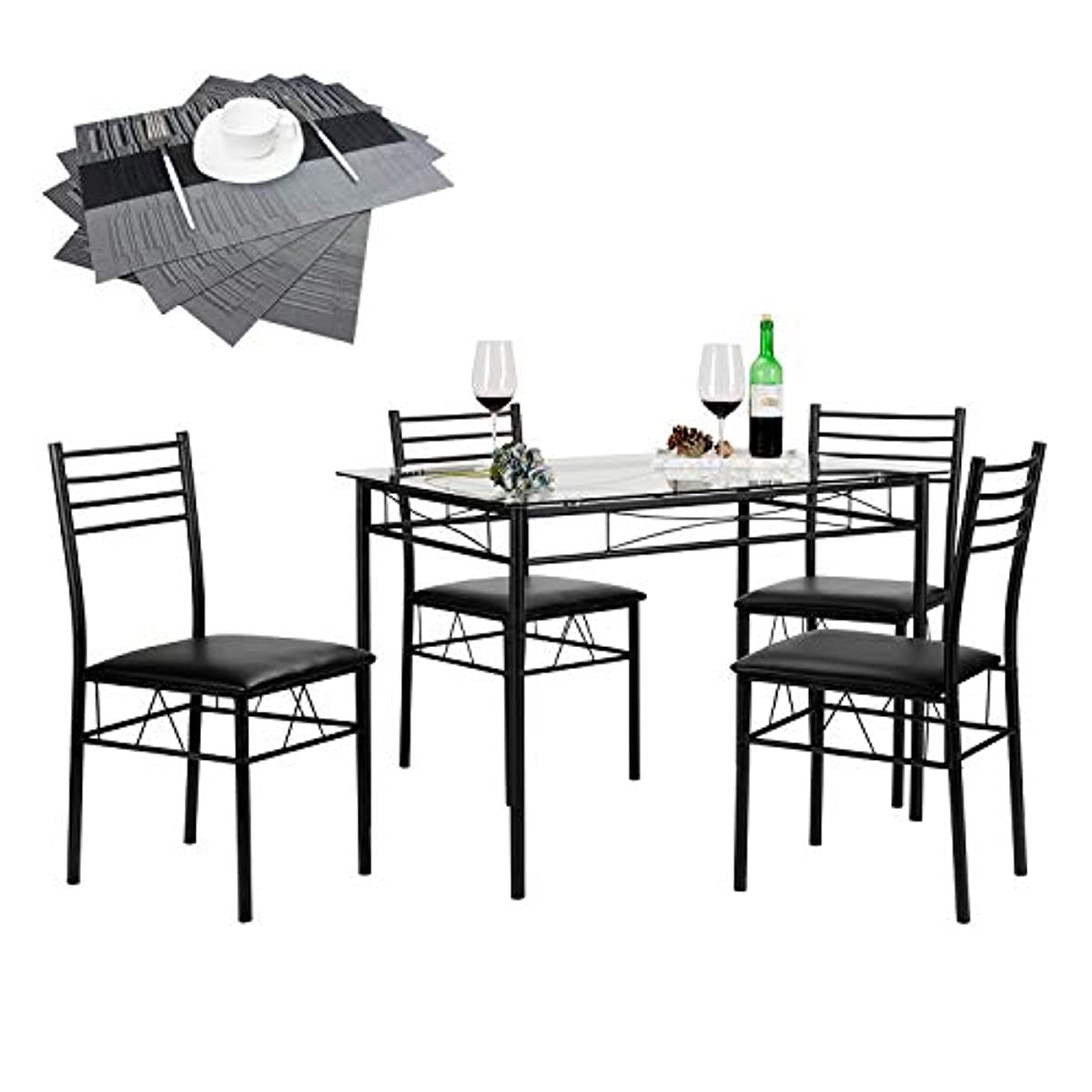 Astounding Details About 5 Piece Dining Table Set Tempered Glass Top Chairs 4 Placemats Sturdy Black Lamtechconsult Wood Chair Design Ideas Lamtechconsultcom