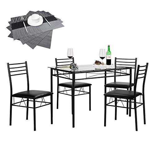 Table Set Room Game Dining (VECELO Dining Table with 4 Chairs Black)