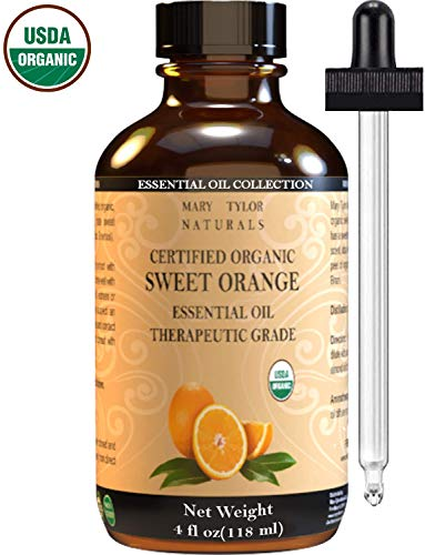 Organic Orange Essential Oil, Large 4 oz, USDA Certified Organic by Mary Tylor Naturals 100% Pure Essential Oil, Therapeutic Grade, Citrus sinensis ()