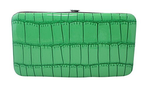 Chicastic Faux Snakeskin Leather Flat Hard Case Clutch Wallet - Green Small - Green Flat Wallet